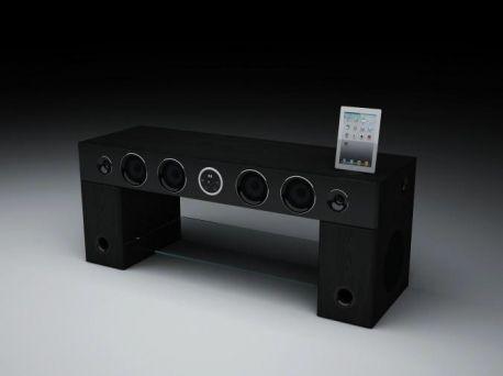Soundvision Soundstand 10 100 Deux Meubles Tv Tout En Un Avec Systeme Audio 2 1 Mobilier De Salon Meuble Tv Systeme Audio