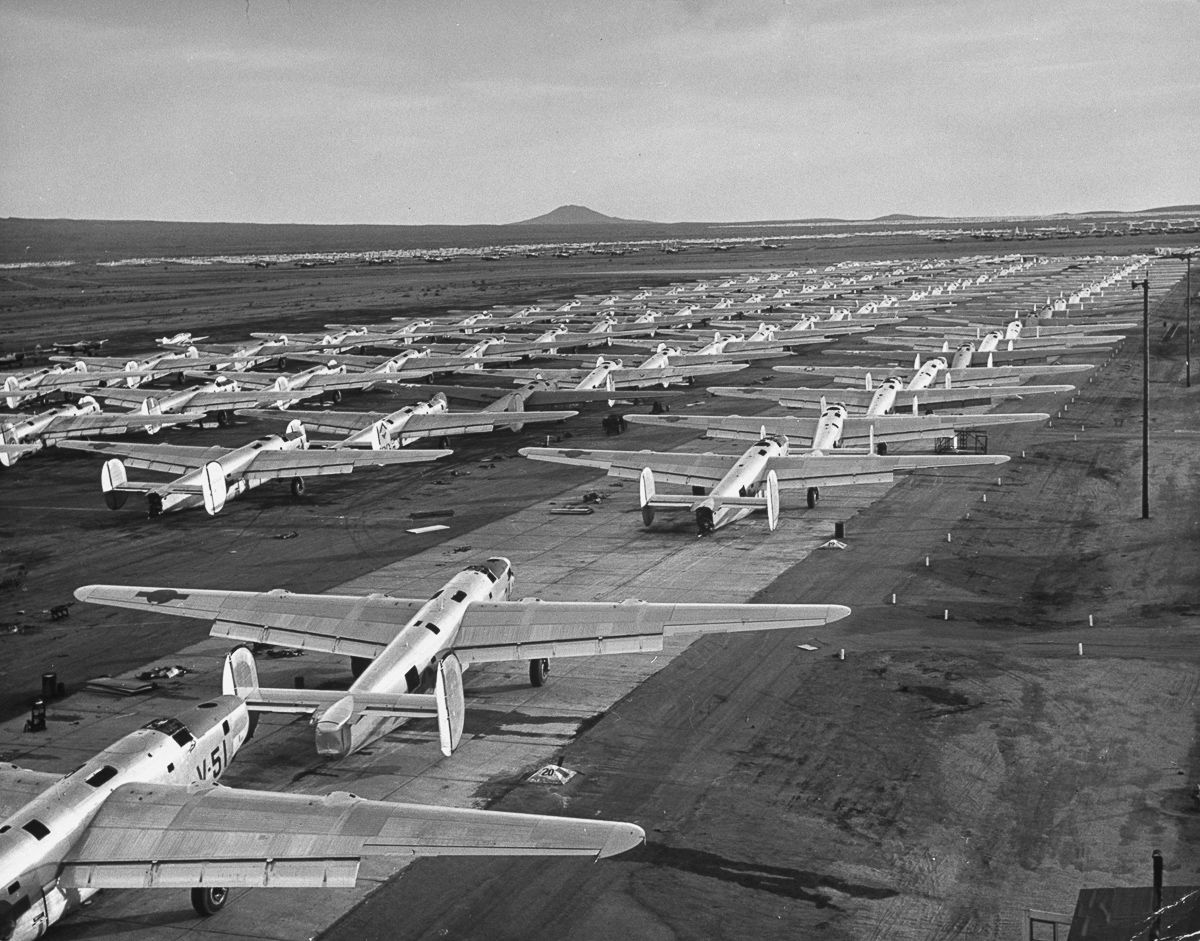 Partially dismantled B-24s awaiting scrapping at Kingman, AZ 1947