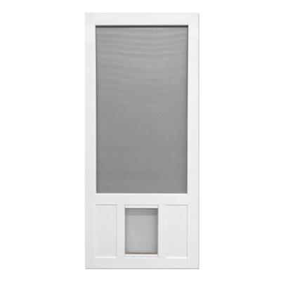 Screen Tight Chesapeake White Vinyl Frame Hinged Pet Door Screen Door Common 36 In 80 In Actual 36 In X 80 In With Images Vinyl Screen Doors Screen Door