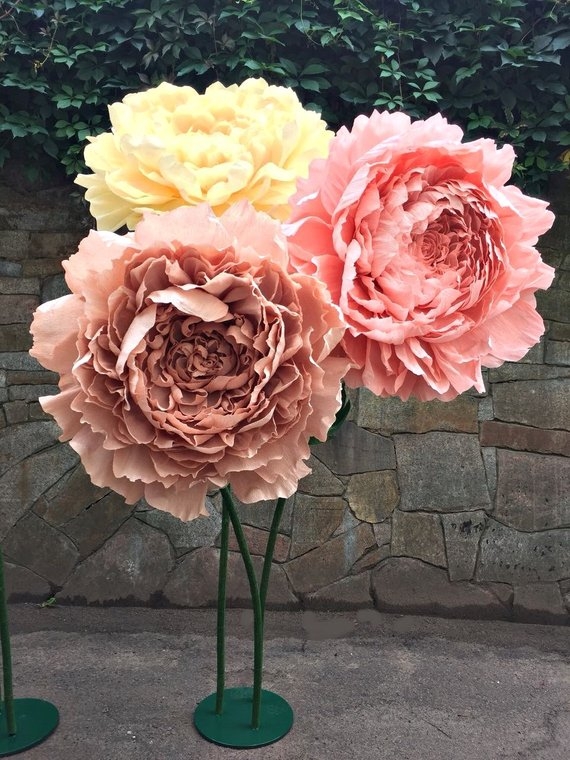 Standing Giant Paper Flowers Self Standing Paper Peony Crepe