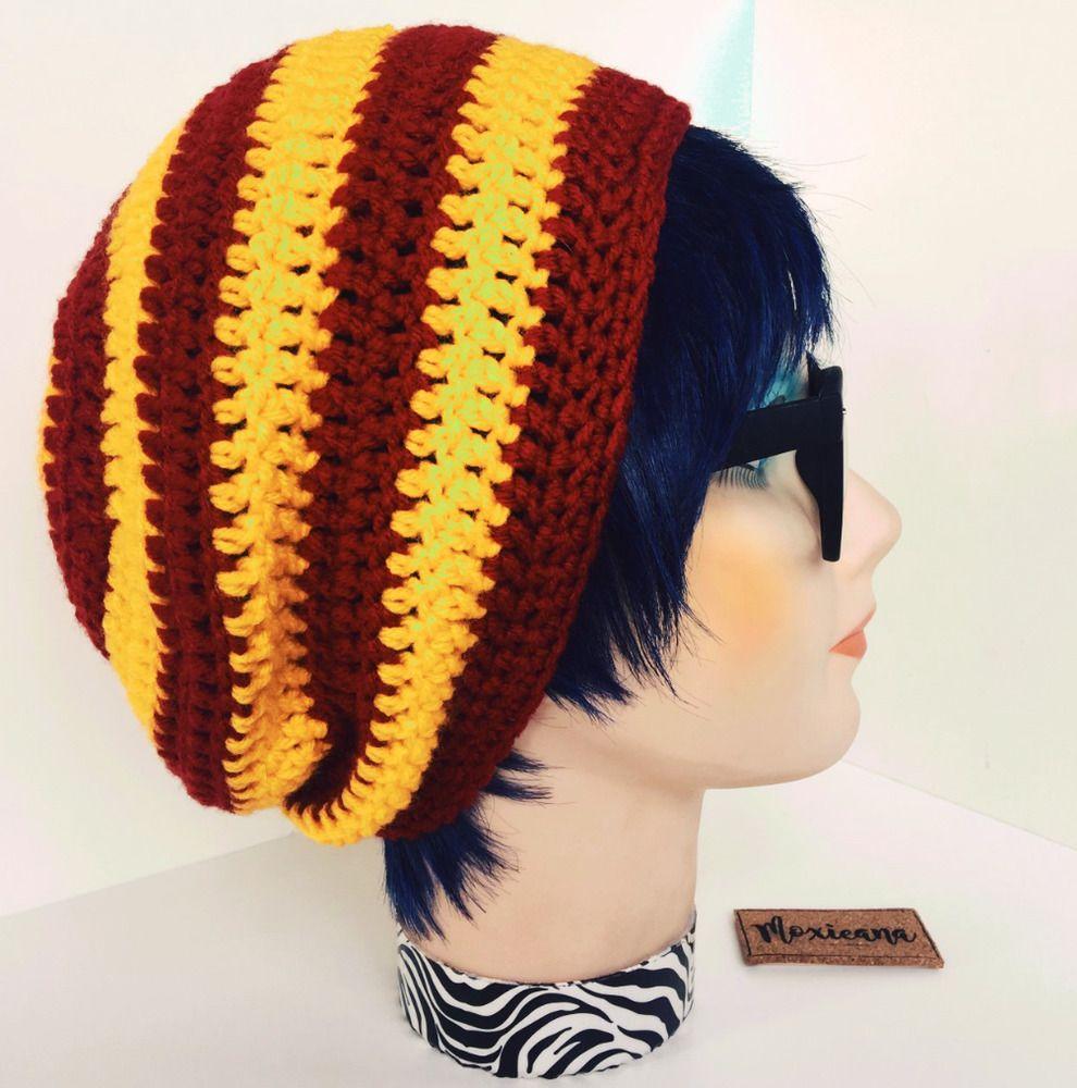 6e55b8311e7 Gryffindor Harry Potter Inspired Slouchy Beanie Handmade Crochet Unisex Hat