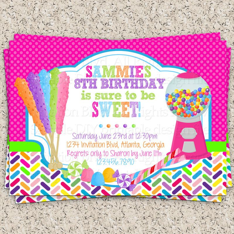 Rainbow Rock Candy Gumball Machine Candyland Party Sweets – Candyland Party Invites