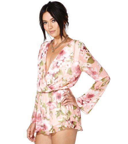 6ab8f000d303 Meilaier Womens Sexy Deep Vneck Romper Floral Printed Chiffon Jumpsuit Plus  Size