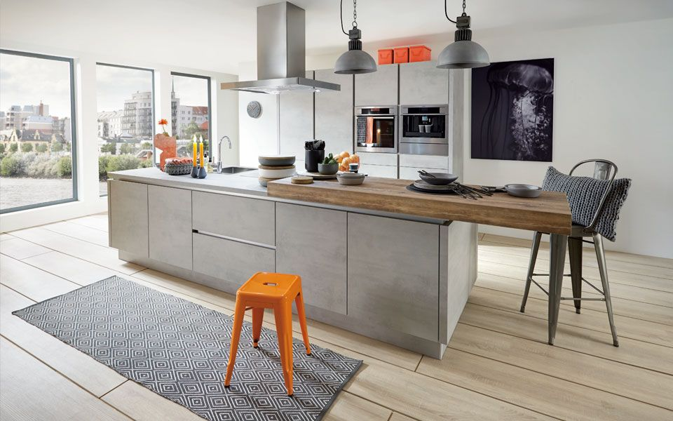 Beton-Küche mit Kochinsel inkl Einbaugeräte - Küche\Co Küche - weisse kueche mit kochinsel