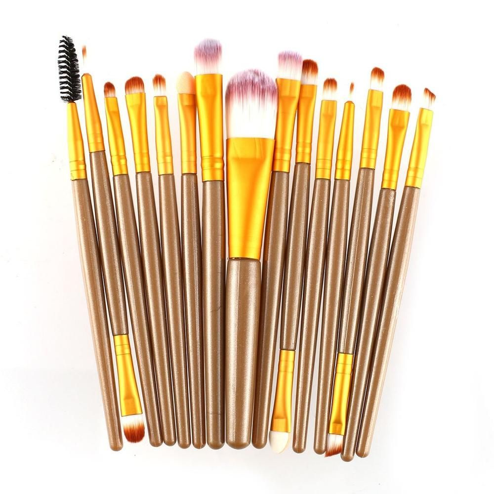 15 Stück Make-Up Pinsel Sets Kit Wimpern Lip Foundation Pulver Lidschatten Augenbraue Eyeliner Kosmetik Pinsel Schönheit Werkzeug – as-picture-show-5