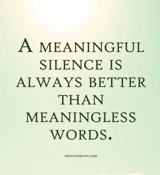 A Meaningful Silence Is Always Better Than Meaningless Words Silence Quotes Words Words Quotes