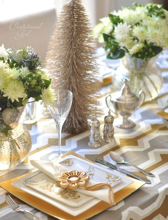 Christmas table ideas decorating with silver and gold a - Modern christmas table settings ideas ...