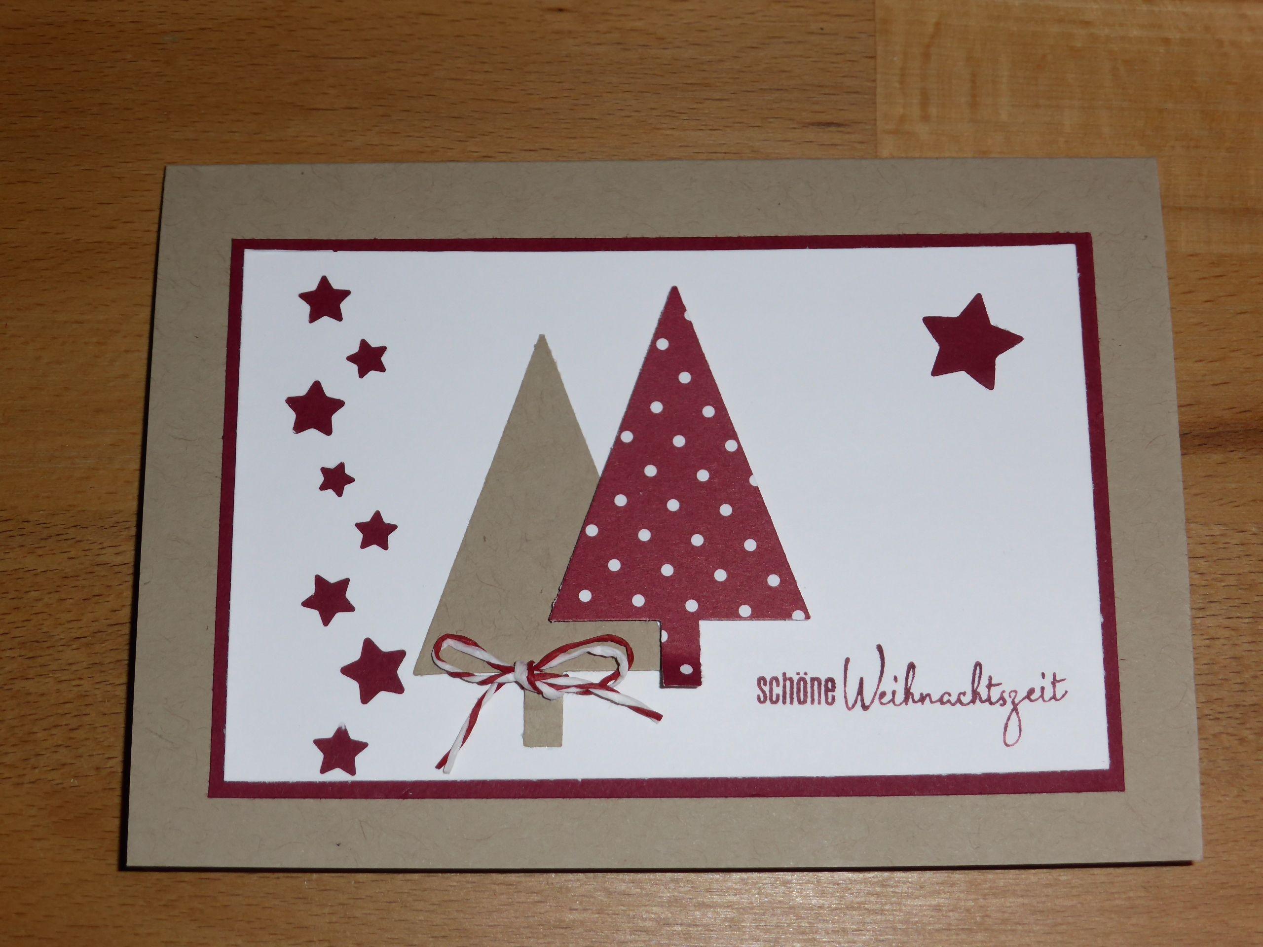 Weihnachtskarte Selbst Gemacht Tannenbäume