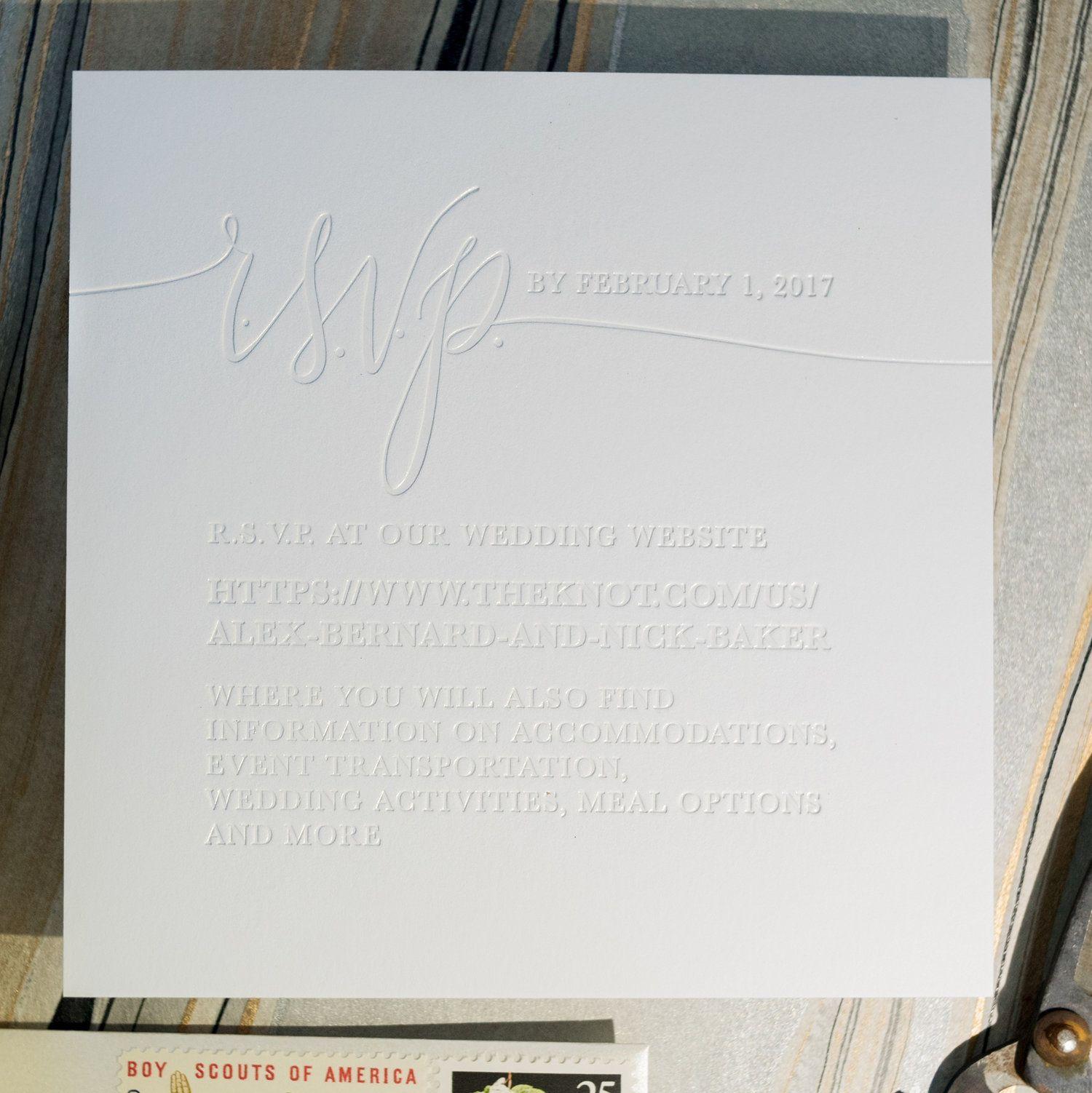 Shimmer White Foil Blind Emboss Wedding Invitations White
