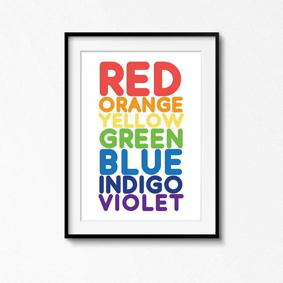 Rainbow Colour Color Names Print Nursery Art Boy Girl Kids