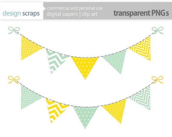 Pink and Gray Heart and Star Bunting Banner Clip Art | Pink ...