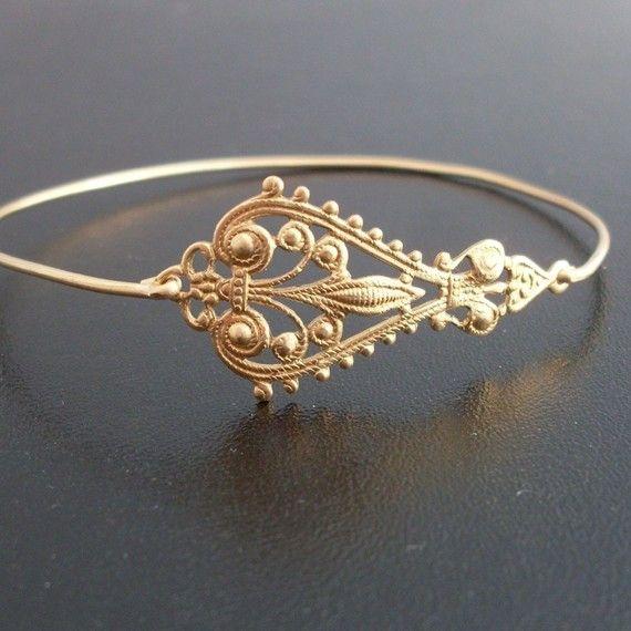Gold Filigree Bracelet Filigree Jewelry Gypsy Boho Jewelry Gold