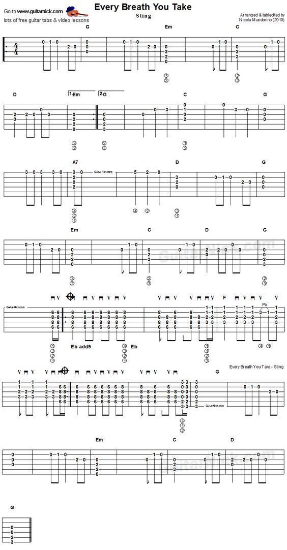 Every Breath You Take, Sting/Police - easy acoustic guitar tab ...