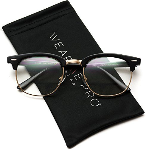 6c082a417d9 WearMe Pro Vintage Inspired Classic Half Frame Clubmaster Horn Rimmed Clear  Lens Glasses Classic Glasses