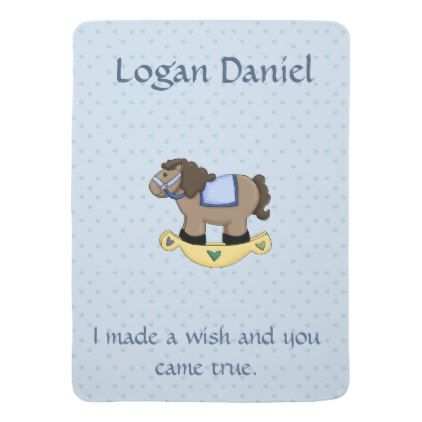Blue rocking horse blanket personalized blue rocking horse blanket personalized baby gifts child new born gift idea diy cyo negle Gallery