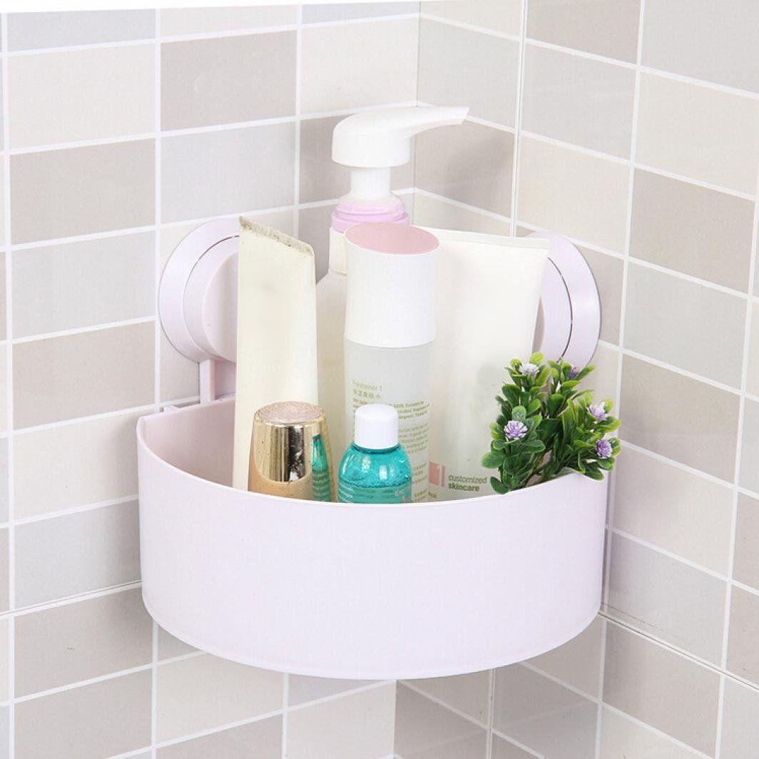 Plastic Suction Cup Bathroom Kitchen Corner Storage Box Rack ...