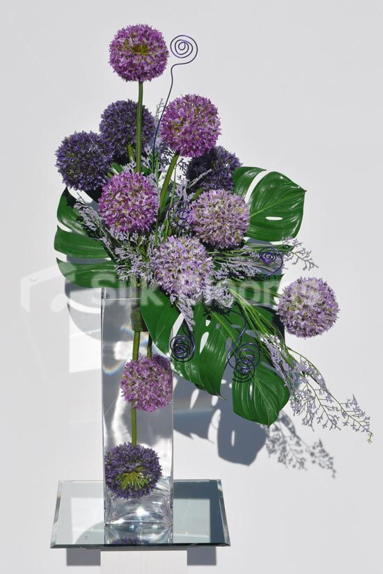 Beautiful Artificial Purple Allium And Green Leaf Floral Table Display W Wire Detaili Contemporary Flower Arrangements Flower Arrangements Floral Arrangements