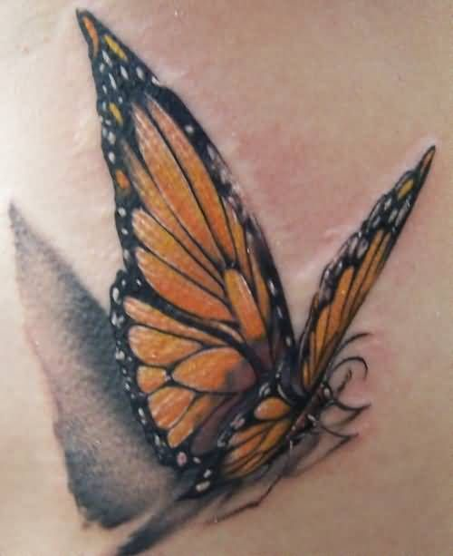 Fantastic Monarch Flying Butterfly Tattoo Design 1 ...