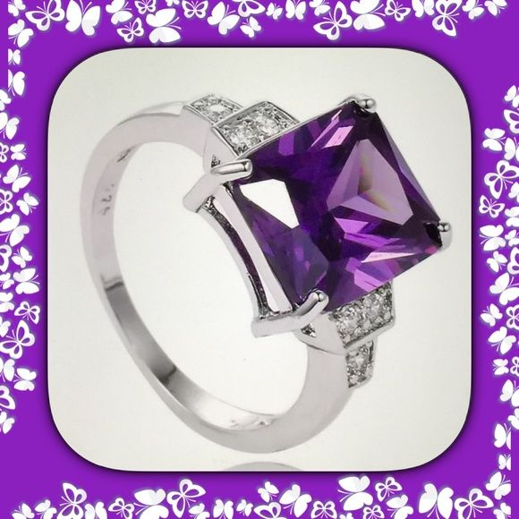 ☃ % STERLING SILVER RING ☃ ☃ This ring is beautiful in every way.  The large purple cubic zirconia will dazzle everyone who sees it.  It has a cluster of crystal rhinestones on each side to make it even more beautiful.  This ring comes with a gift box. ☃ Jewelry Rings