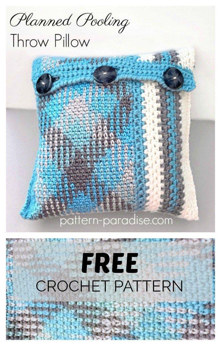 Free Crochet Pattern: Planned Pooling Throw Pillow   Kissenbezüge ...