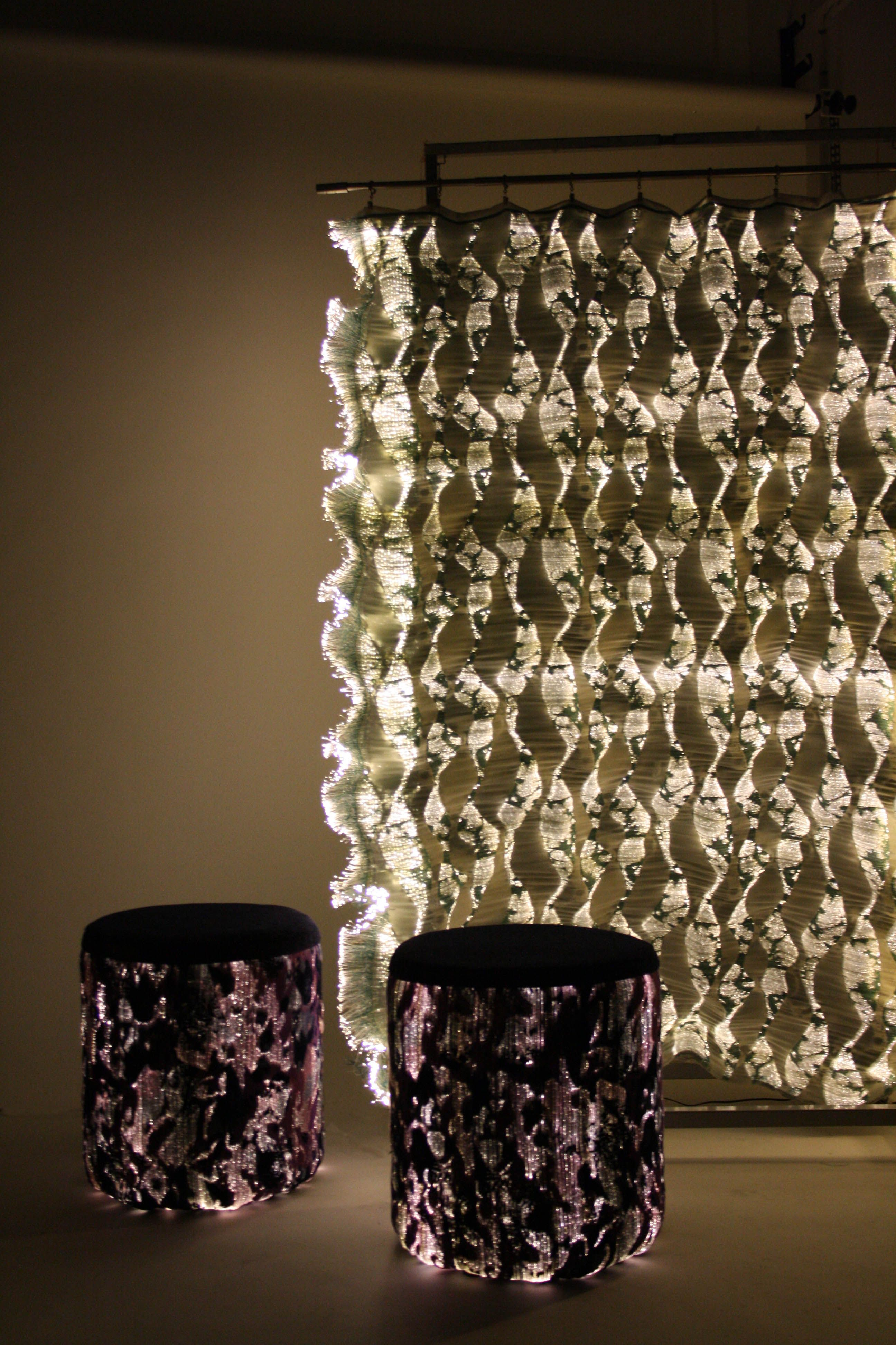 Binary Surfaces Optical Fiber Textiles For Interior Design