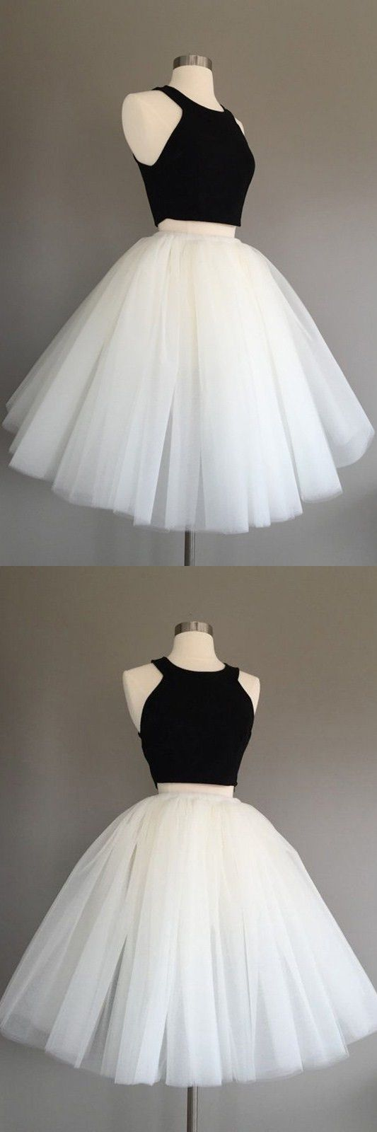Two piece halter kneelength sleeveless ivory tulle homecoming dress