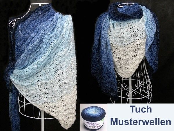Tuch Musterwellen Stricken aus 1 Bobbel | Dreieckstuch ...