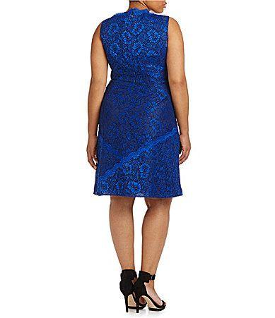 Calvin Klein Plus Scalloped Floral Lace Dress #Dillards