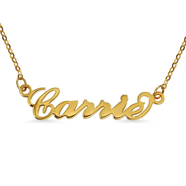 Personalized Carrie Name Necklace Solid Gold 10k 14k 18k Great Gifts For Girlfriend Name Necklace Solid Gold Jewelry