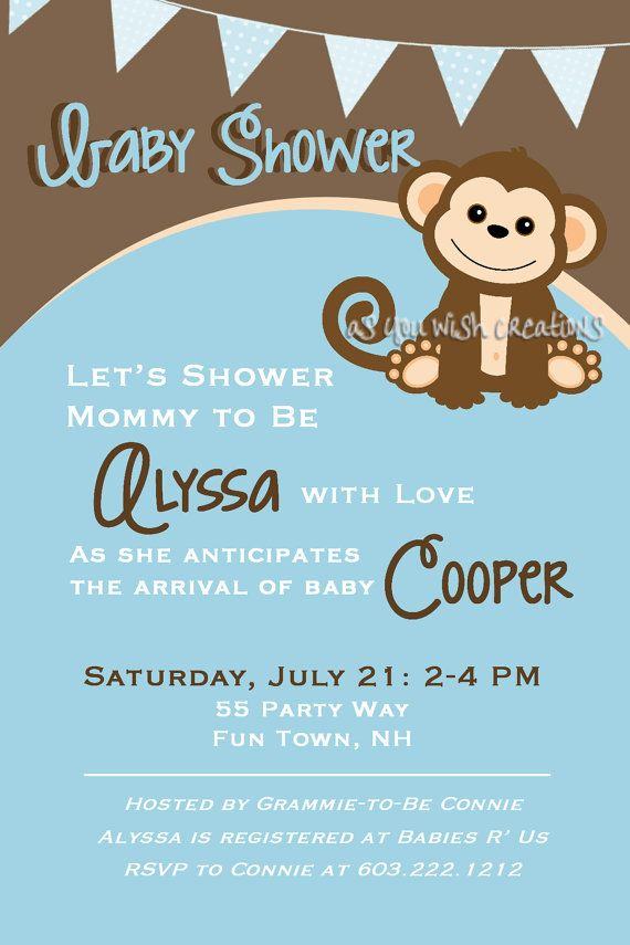 Beauty! | Invitations | Pinterest | Monkey baby, Shower invitations ...