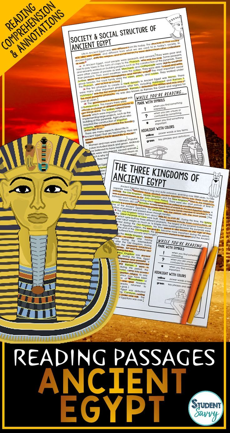 Photo of Ancient Egypt Reading Passages – Questions – Annotations