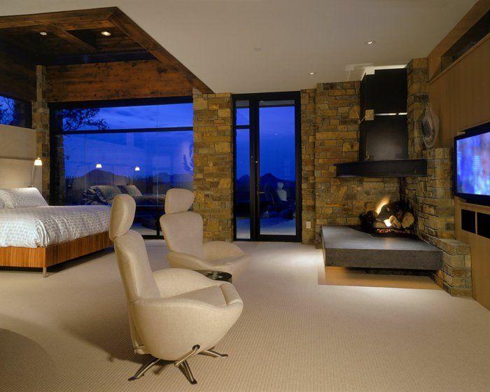 Moderne schlafzimmergestaltung ~ Kamin ofen modern wohnideen schlafzimmer schlafzimmergestaltung