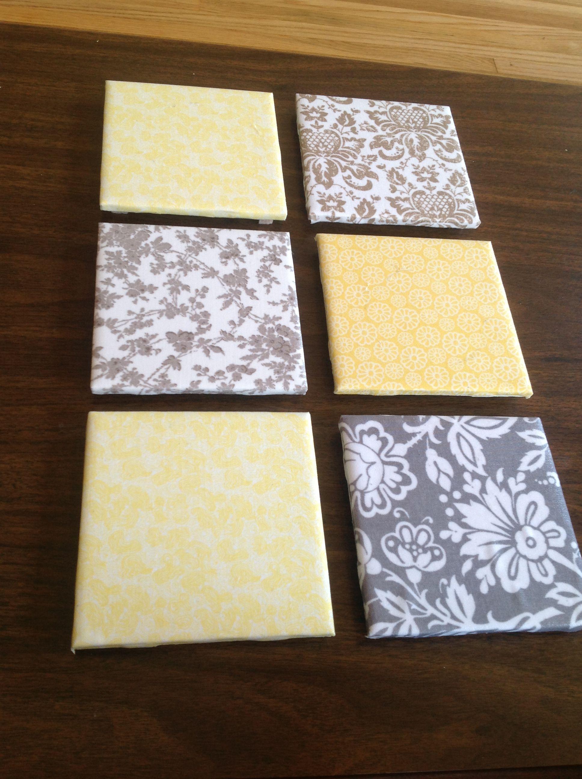 DIY coasters Bought ceramic bath tile 15cents at menards home