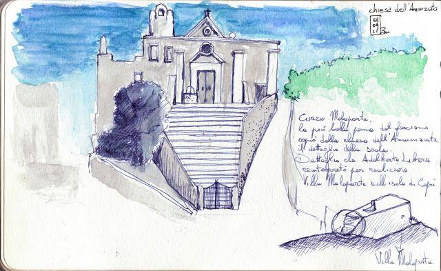 """La Chiesa dell'Annunziata di Lipari, ha una storia particolare. Costruita su un blocco di tufo, ha una scala che è stata plasmata dai due sentieri che le corrono ai lati, qualche secolo dopo Curzio Malaparte, esiliato a Lipari, prese spunto da queste scale per inserirle nella sua villa a Capri, e così, mentre Malaparte inviava i suoi disegni ad Adalberto Libera, questi li """"traduceva"""" in forma architettonica per progettare una delle più belle architetture di tutti i tempi."""