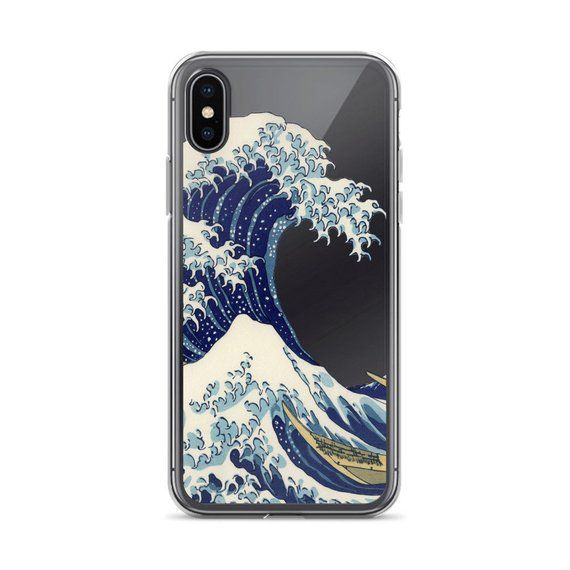 40169d6cf1 The Wave Phone Case, iPhone 6 7 8 X, Samsung Galaxy S8 S9 Plus, Clear Phone  Case, Japanese Print, Ka