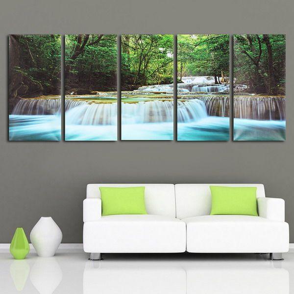 30x60cm 5pcs arte de la pared cascada del bosque pintura lona de la - cascada de pared
