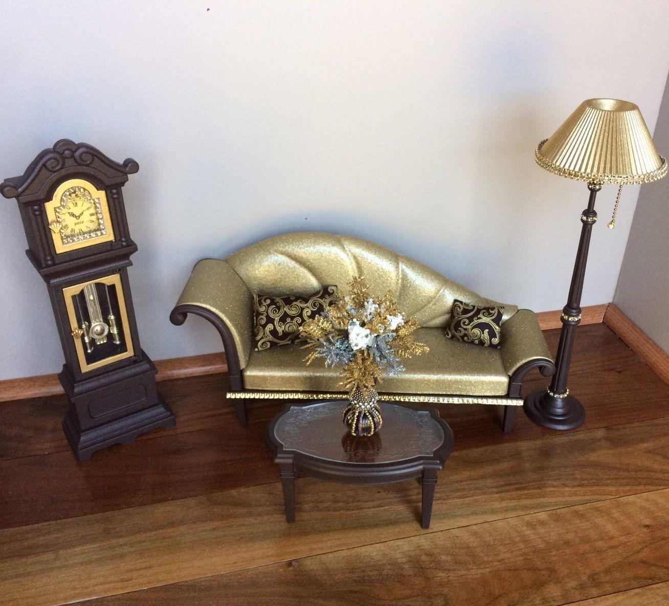 Barbie ooak furniture ken gi joe 1 6 scale living room lamp clock  accessories. Barbie ooak furniture ken gi joe 1 6 scale living room lamp clock