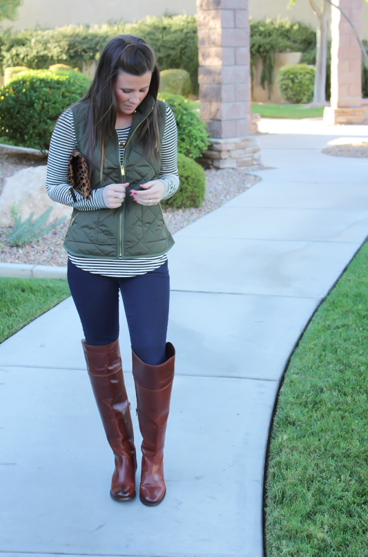 0c9264ea0ac0 Army Green Quilted Vest, Striped Tee, Dark Wash Skinny Jeans, Over the Knee  Boots, Leopard Fold Over Clutch, Old Navy, Banana Republic, Frye Boots, ...