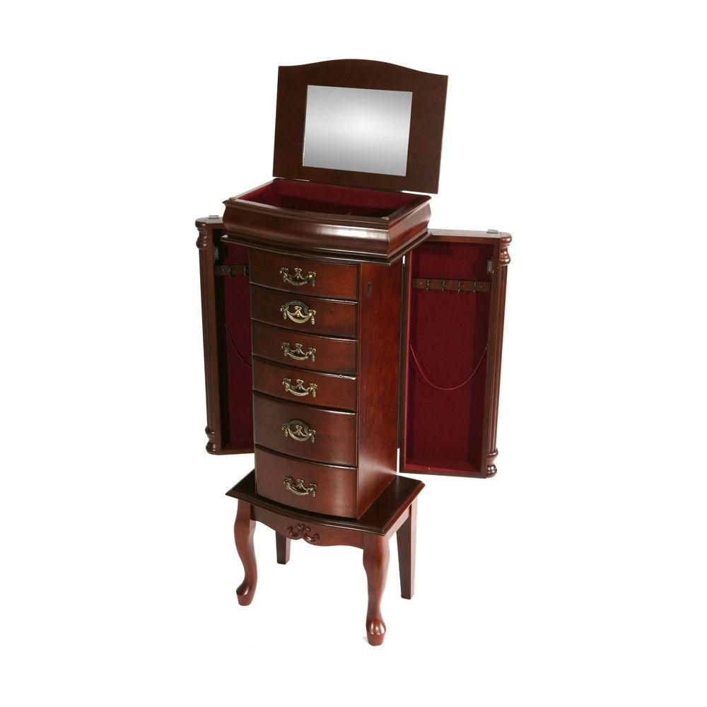 Southern Enterprises Jewelry Armoire in Mahogany Armoires and Southern
