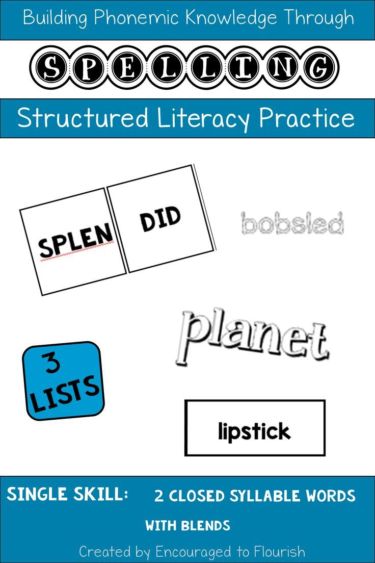 Two Closed Syllable Words WITH Blends Spelling Lists