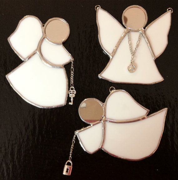 Stained+Glass+Ornament+Angel++Peace++Lock++Key+by+PeaceLuvGlass,+$28.00