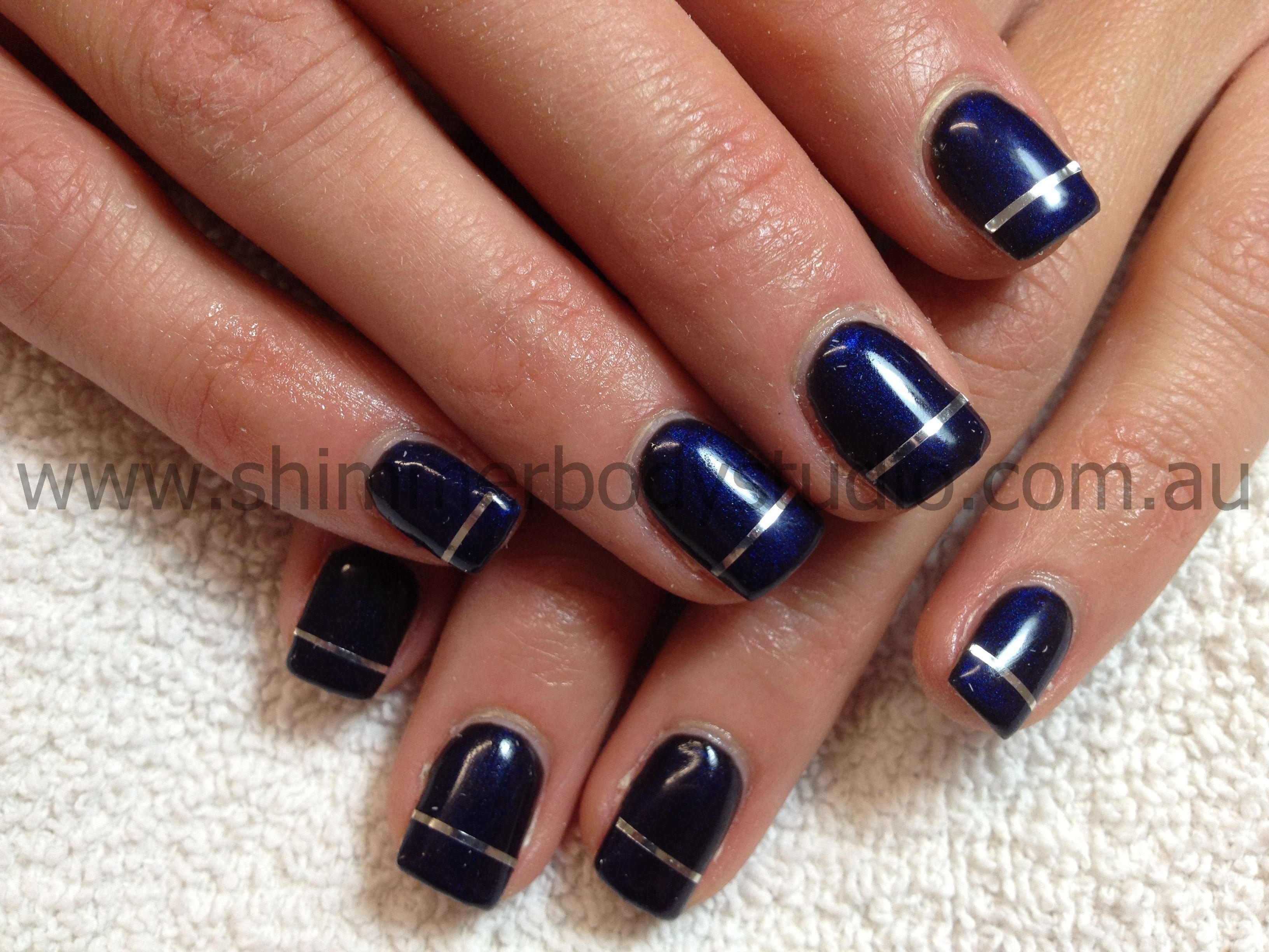 Gel nails, deep blue metallic nails, silver striping tape nail art ...