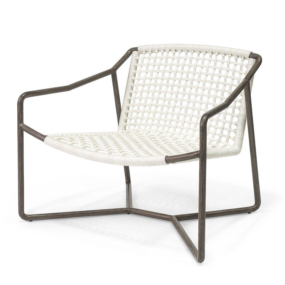 Metal Frame In An Espresso Wood Like Finish Featuring Hand Woven White Marine Grade Synthetic Rope Suita Lounge Chair Outdoor Outdoor Chairs Outdoor Furniture