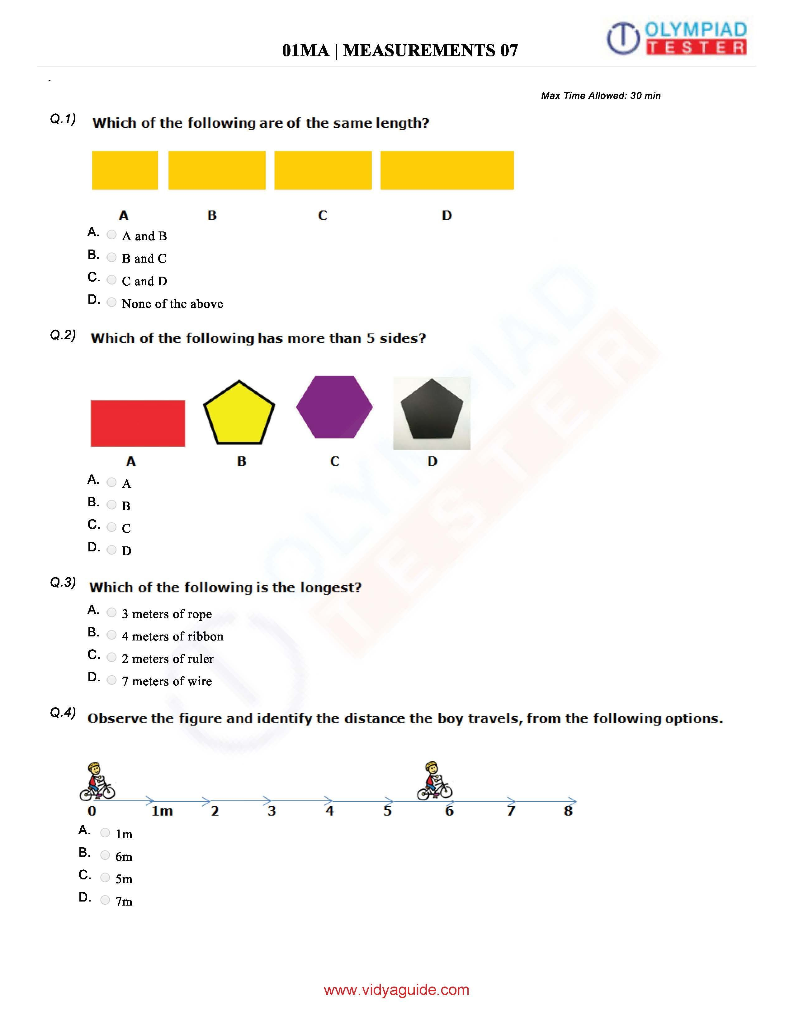 Download Class 1 Maths Olympiad Sample Papers As