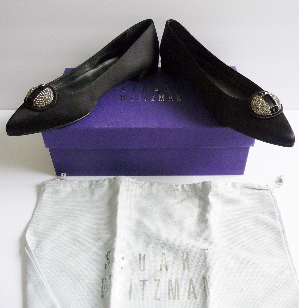 """Stuart Weitzman NIB """"Dome"""" Black Satin Ballet Flats Jewel Buckle Size 9B $565. #StuartWeitzman #BalletFlats #Dressy"""
