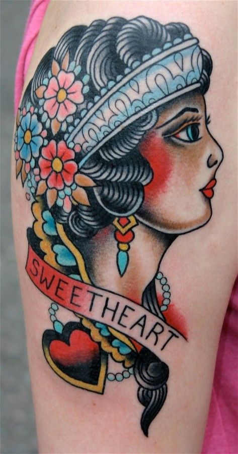 dd3bd4d75 Woman American Traditional Style Tattoo | Tattoos | Traditional ...