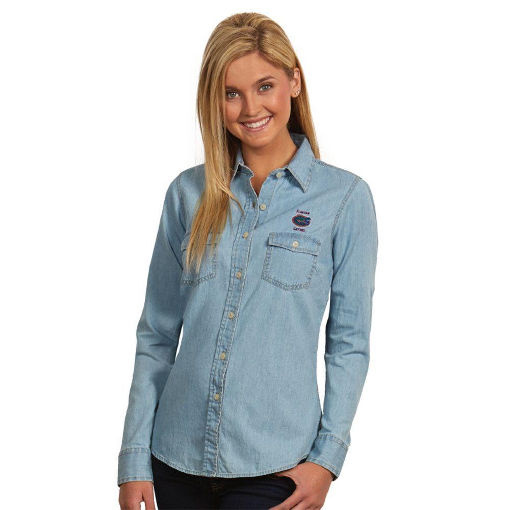 Florida Gators NCAA L/S Chambray Womens Long Sleeve Shirt