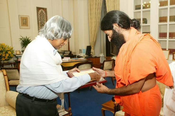 yoga guru Baba Ramdev with former President of India Dr  APJ