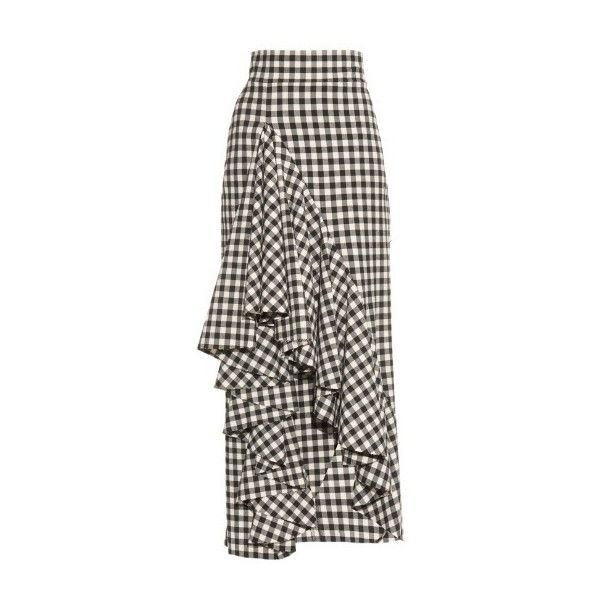 A.W.A.K.E. Rapping To The Stars gingham skirt (£460) ❤ liked on Polyvore featuring skirts, black white, gingham skirt, black white skirt, ruffle skirt, frilly skirt and flounce skirt