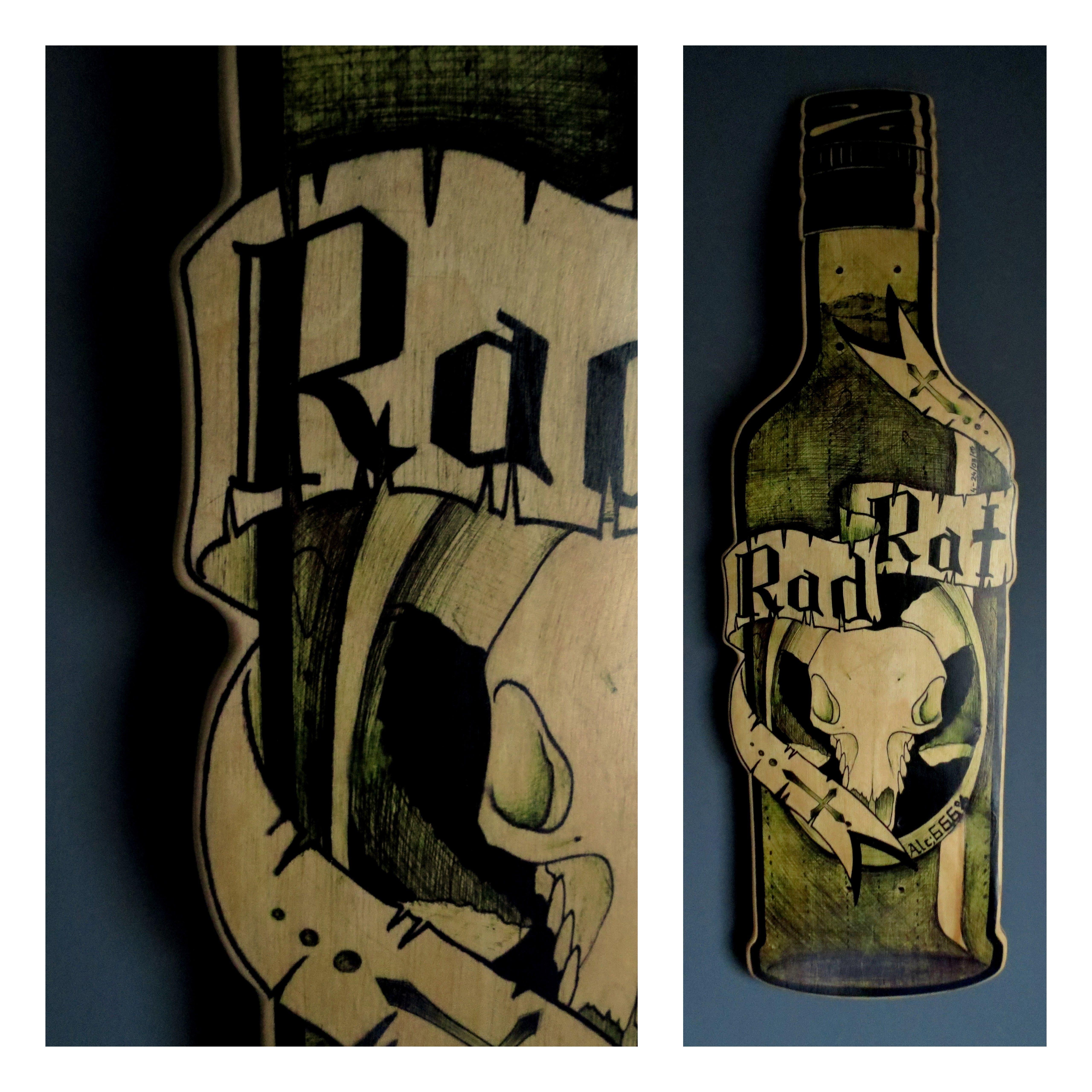 "Handmade, Handpainted, Hand-Painted Skateboard Deck ~~ Bottle 4-24|03|15 ~~ Width: 8,5"" / 21,59 cm ~~ Laenght: 28,5"" / 72,39 cm"
